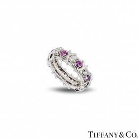 Tiffany & Co. Diamond & Pink Sapphire Schlumberger Ring
